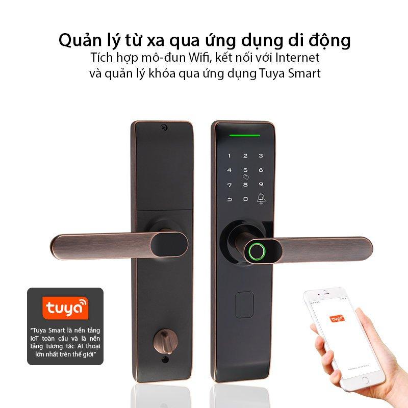 Khóa cửa vân tay dành cho cửa thông phòng Hamboo HSF005 (Wifi)